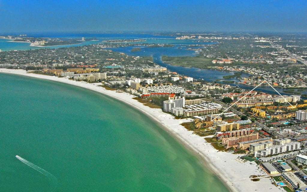Midnight Cove in Siesta Key Gulfside and Bayside Aerial